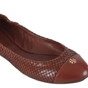 NEW Tory Burch York Snake Ballet Flat Brown, sz 5